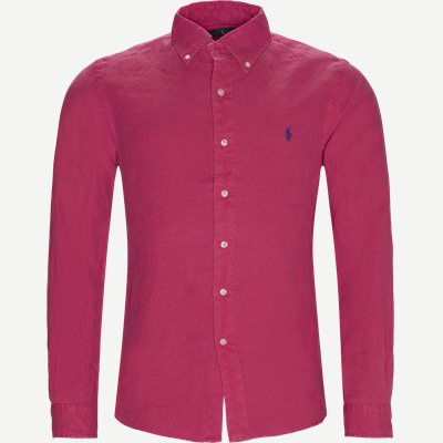 Hør Button-Down Skjorte Slim | Hør Button-Down Skjorte | Rød