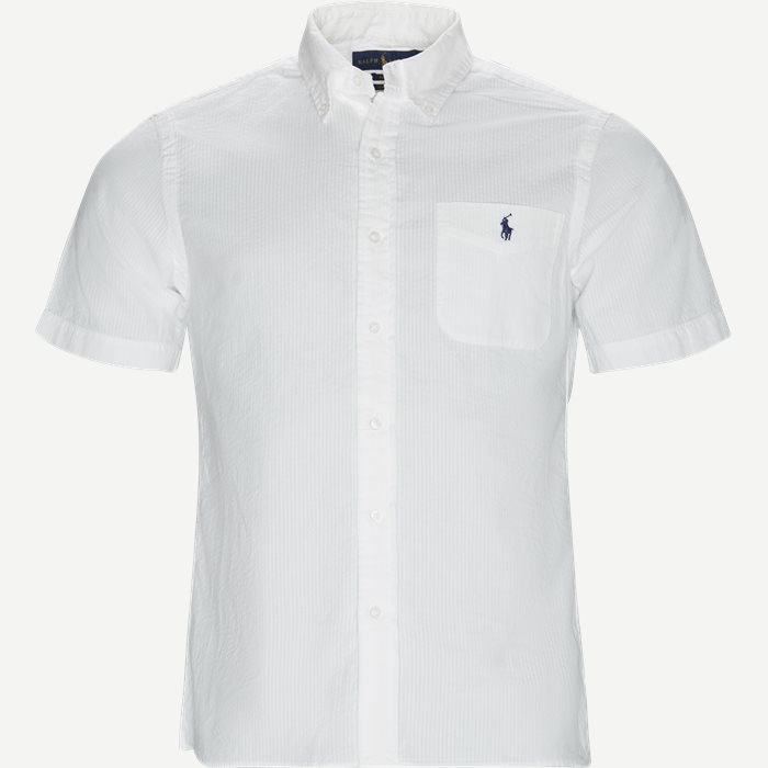 Short Sleeve Seersucker Shirt - Kortærmede skjorter - Slim - Hvid