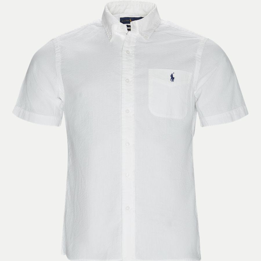 710744866 - Short Sleeve Seersucker Shirt - Skjorter - Slim - HVID - 1
