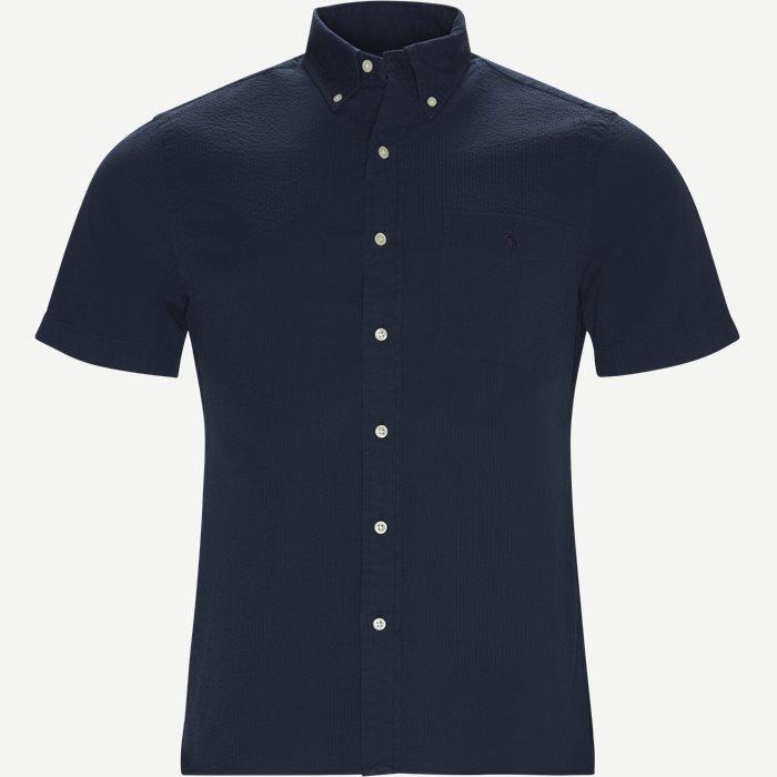 Short Sleeve Seersucker Shirt - Kortærmede skjorter - Slim - Blå