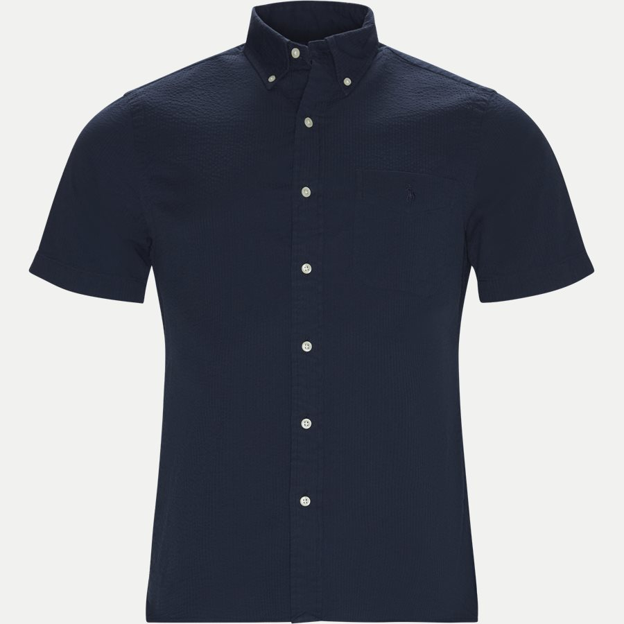 710744866 - Short Sleeve Seersucker Shirt - Skjorter - Slim - NAVY - 1