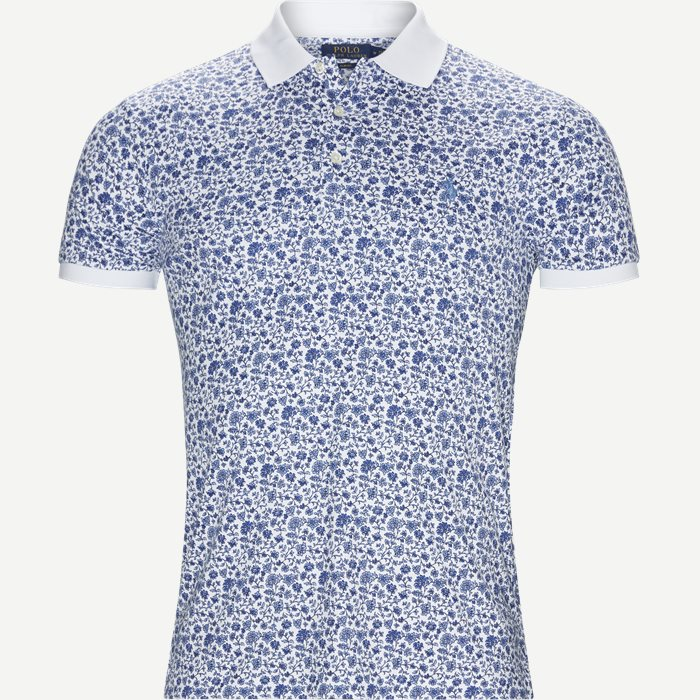 Mønstret Polo t-shirt - T-shirts - Slim - Hvid