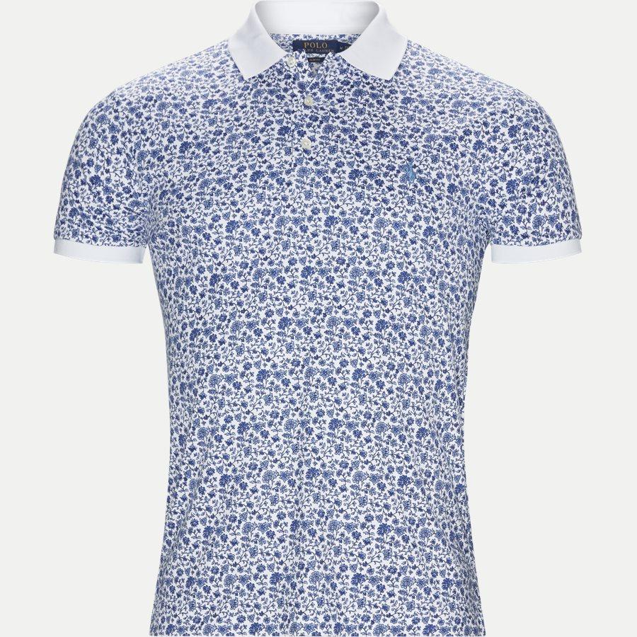 710744899 - Mønstret Polo t-shirt - T-shirts - Slim - HVID - 1