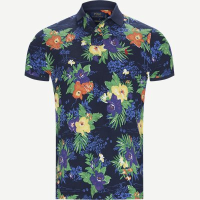Caribbean Floral Pique Polo Regular slim fit | Caribbean Floral Pique Polo | Blå