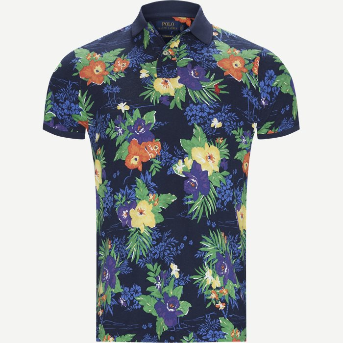 Caribbean Floral Pique Polo - T-shirts - Regular slim fit - Blå