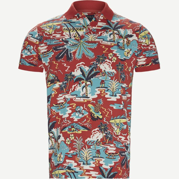 Caribbean Floral Pique Polo - T-shirts - Regular slim fit - Rød