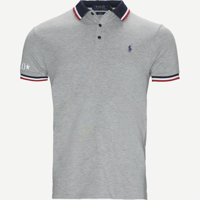 Neck Logo Polo T-shirt - T-shirts - Slim - Grå