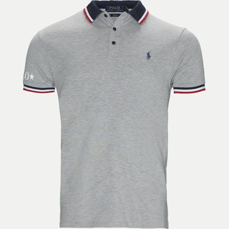 8123ccaa87a 710753174 - Neck Logo Polo T-shirt - T-shirts - Slim - GRÅ