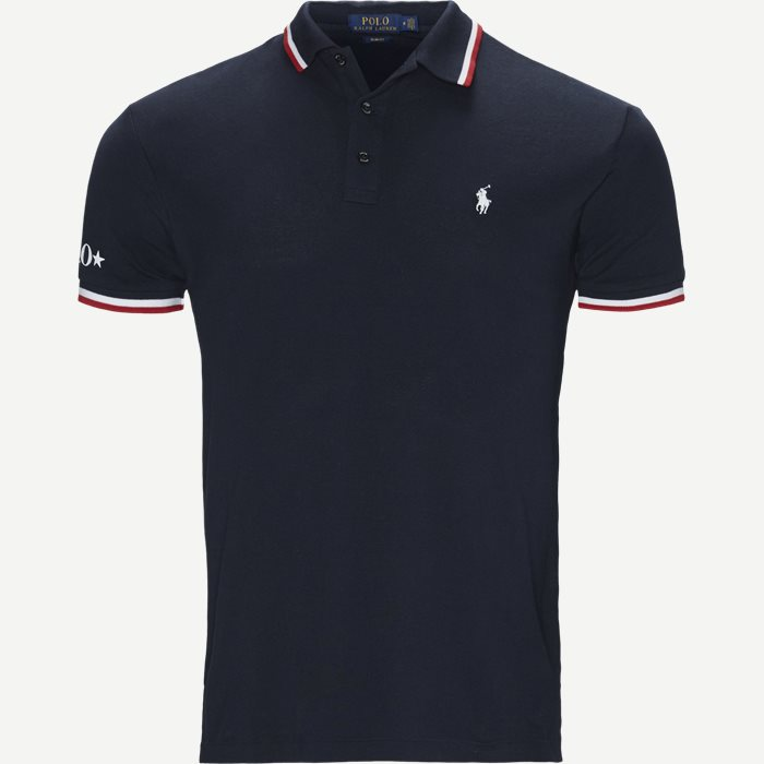 Neck Logo Polo T-shirt - T-shirts - Slim - Blå