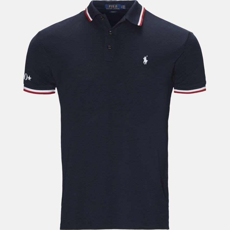 710753174 - Neck Logo Polo T-shirt - T-shirts - Slim - NAVY - 1