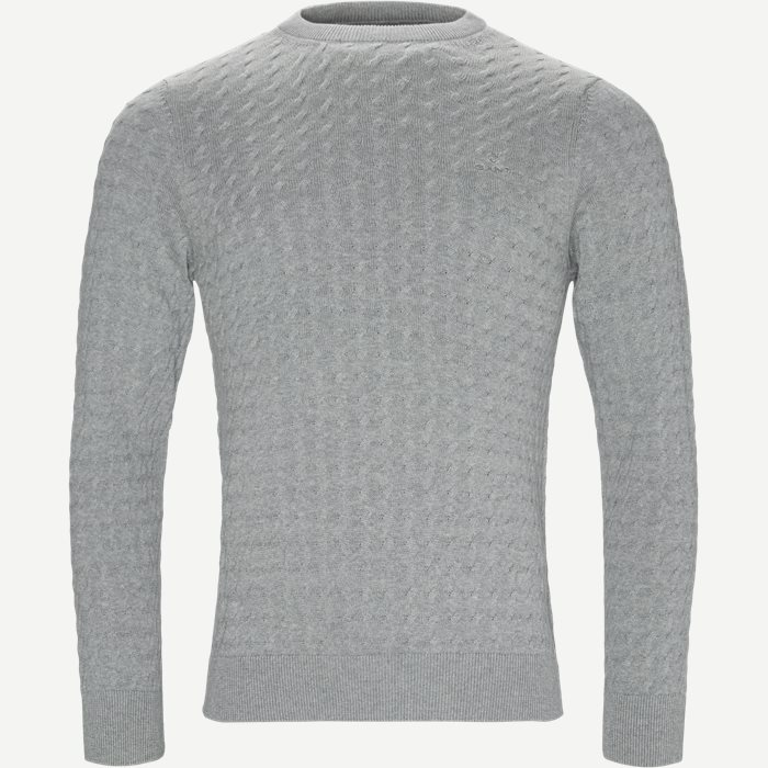Flat Cable Crew Knit - Strik - Regular - Grå
