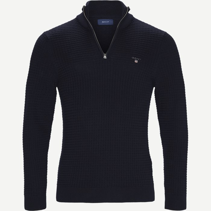 Textured Half Zip Strik - Strik - Regular - Blå