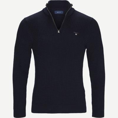 Textured Half Zip Strik Regular | Textured Half Zip Strik | Blå