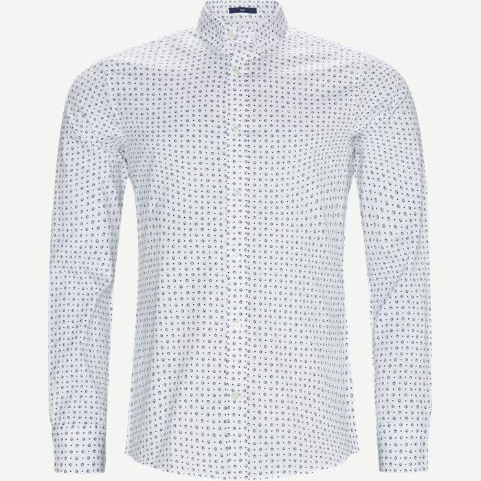 Micro Sport Print Slim Skjorte - Skjorter - Slim - Hvid