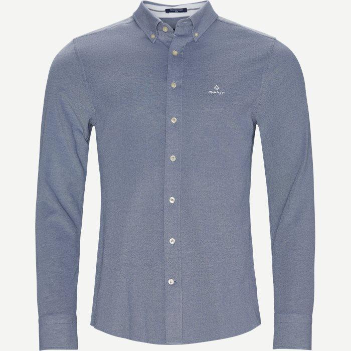 TP Pique Solid Slim BD Skjorte - Skjorter - Slim - Blå
