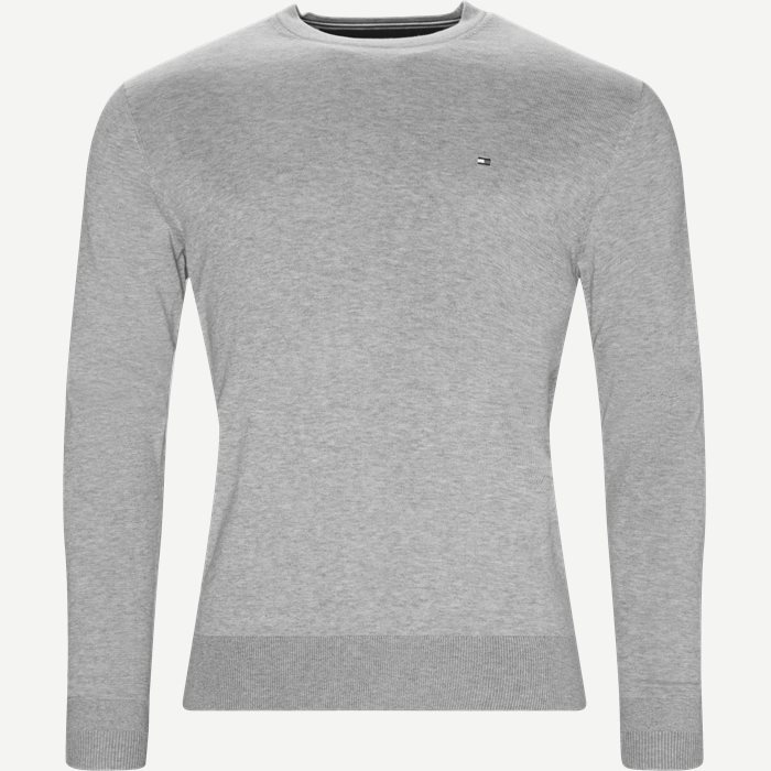 Cotton Silk Crew Neck Knit - Strik - Regular - Grå