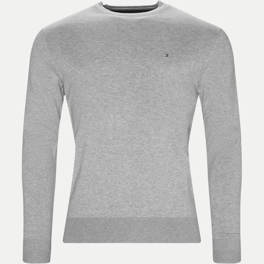 COTTON SILK CREW NECK - Cotton Silk Crew Neck Knit - Strik - Regular - GRÅ - 1