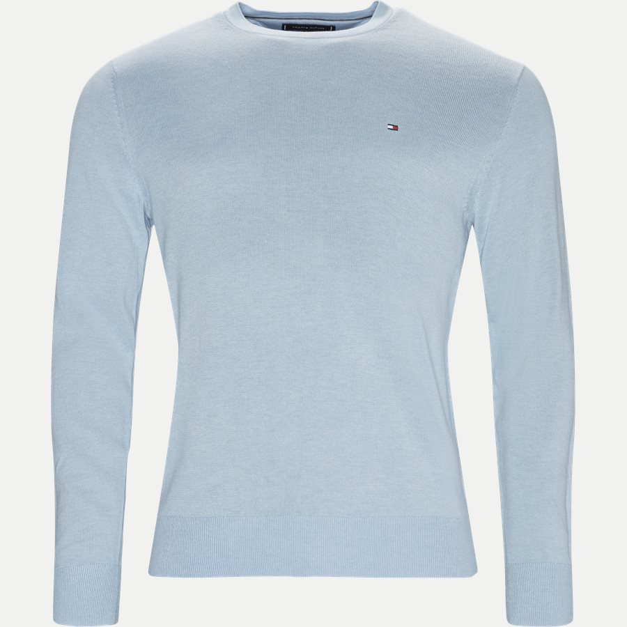 COTTON SILK CREW NECK - Cotton Silk Crew Neck Knit - Strik - Regular - LYSBLÅ - 1