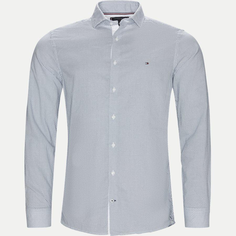 SLIM COTTON LINEN PRINTED SHIRT - Slim Cotton Linen Printed Shirt - Skjorter - Slim - BLÅ - 1