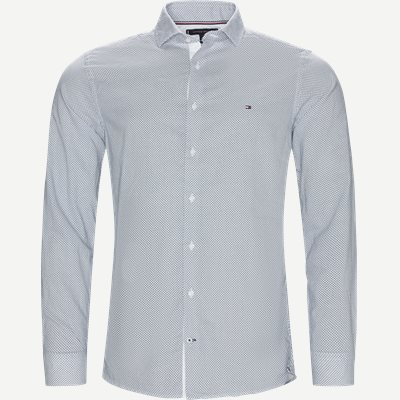 Slim Cotton Linen Printed Shirt Slim | Slim Cotton Linen Printed Shirt | Blå