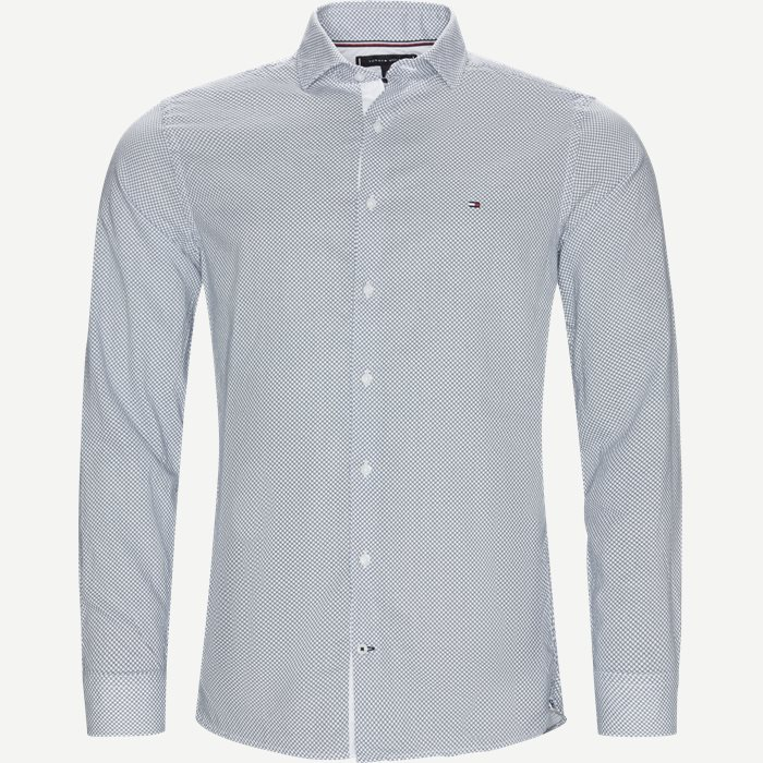 Slim Cotton Linen Printed Shirt - Skjorter - Slim - Blå