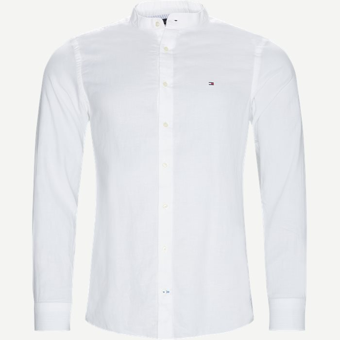 Slim CO/LI Mandarin Collar Shirt - Skjorter - Slim - Hvid