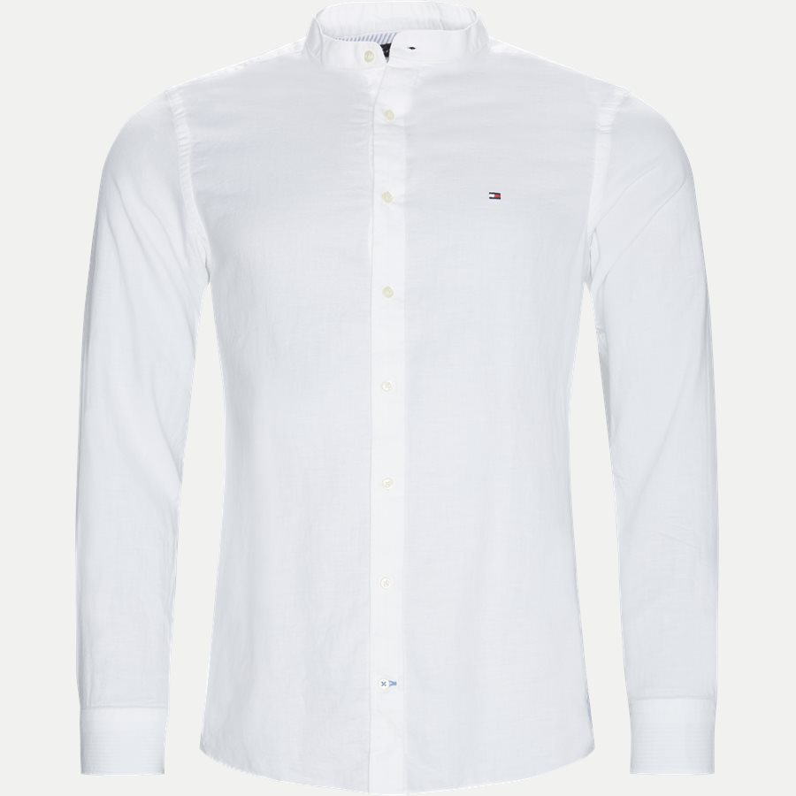 SLIM CO/LI MANDARIN COLLAR SHIRT - Mandarin Collar Shirt - Skjorter - Slim - HVID - 1