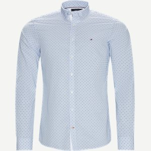 Slim Micro Print Shirt Skjorte Slim   Slim Micro Print Shirt Skjorte   Blå