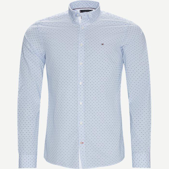 Slim Micro Print Shirt Skjorte - Skjorter - Slim - Blå