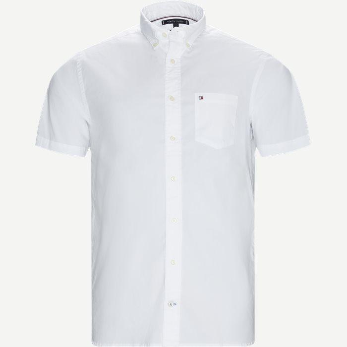 Stretch Poplin Shirt S/S Kortærmetskjorte - Kortærmede skjorter - Regular - Hvid