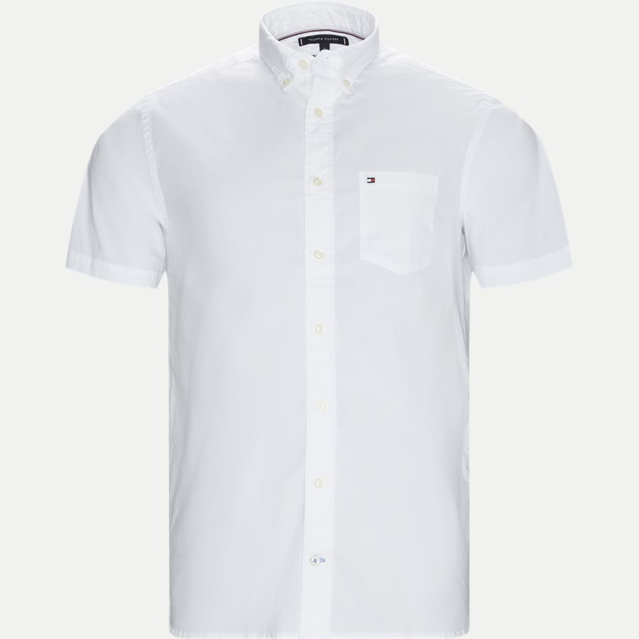STRETCH POPLIN SHIRT S/S - Stretch Poplin Shirt S/S Kortærmetskjorte - Skjorter - Regular - HVID - 1