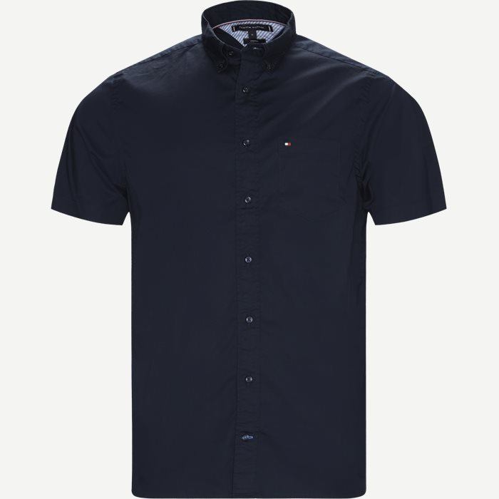 Stretch Poplin Shirt S/S Kortærmetskjorte - Kortærmede skjorter - Regular - Blå