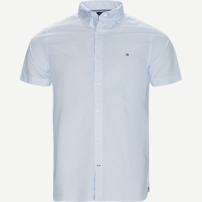Slim Mini Print Shirt S/S Kortærmet Skjorte - Kortærmede skjorter - Slim - Blå