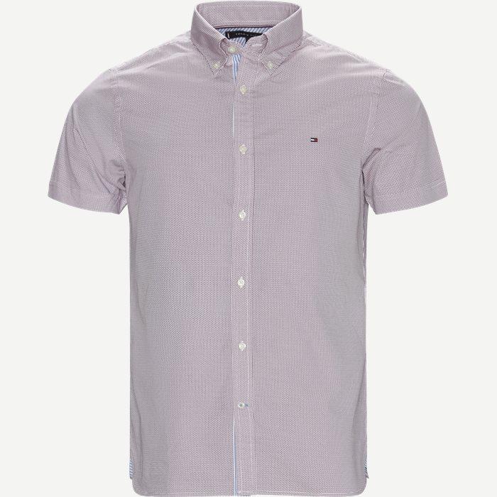 Slim Mini Print Shirt S/S Kortærmet Skjorte - Kortærmede skjorter - Slim - Rød