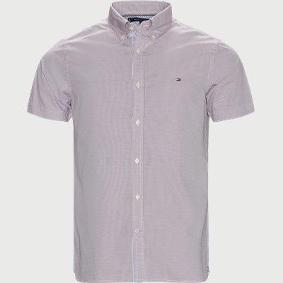 Slim Mini Print Shirt S/S Kortærmet Skjorte Slim | Slim Mini Print Shirt S/S Kortærmet Skjorte | Rød