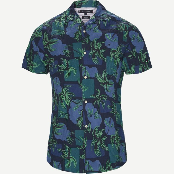 Palm Tree Print Shirt - Kortærmede skjorter - Regular - Blå