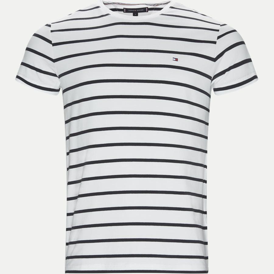 STRETCH SLIM FIT TEE - Stretch Stripe Tee - T-shirts - Slim - BLÅ - 1