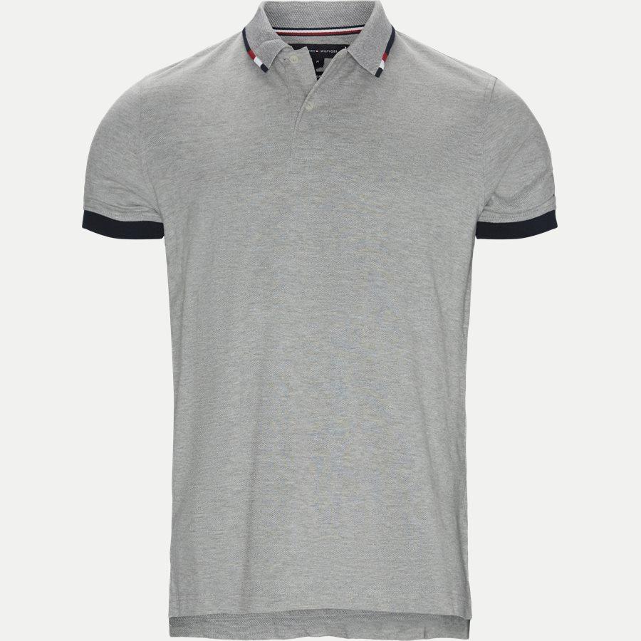 GLOBAL TIPPED COLLAR SLIM POLO - Global Tipped Collar Polo T-Shirt - T-shirts - Regular - GRÅ - 1