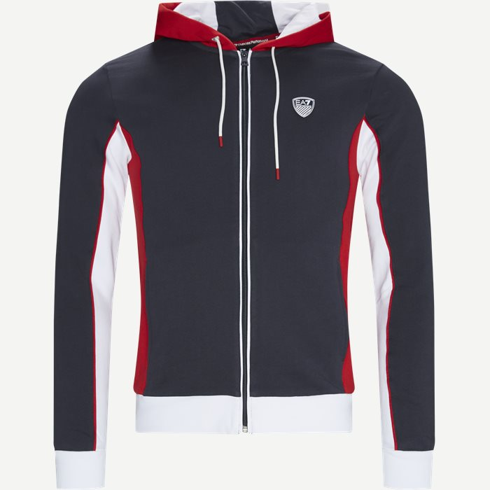 Full Zip Sweatshirt Med Hætte - Sweatshirts - Regular - Blå