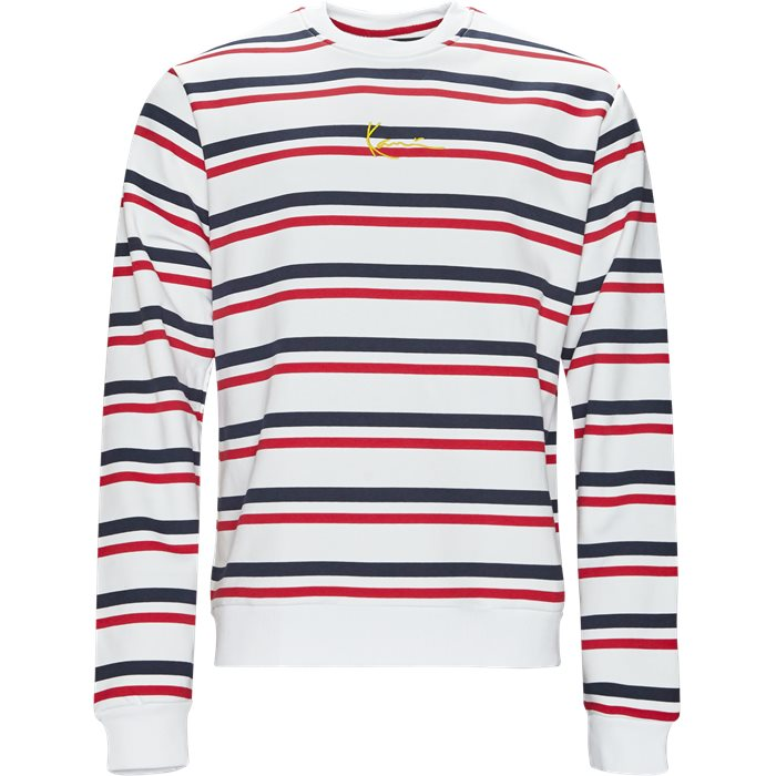 Signature Stripe Crew - Sweatshirts - Regular - Hvid