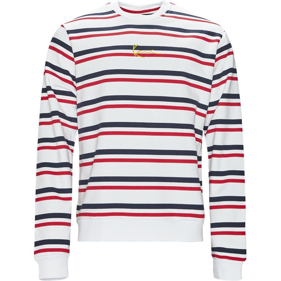 SIGNATURE STRIPE CREW 3581907 - Signature Stripe Crew - Sweatshirts - Regular - HVID/RØD - 1
