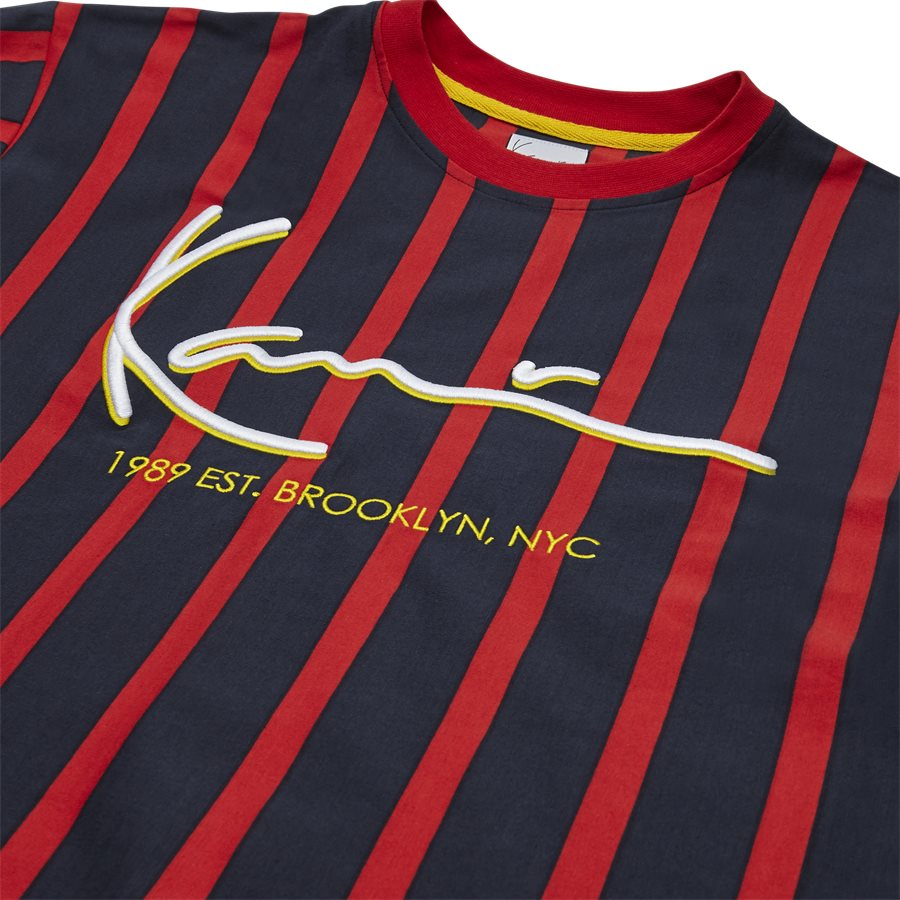 SIGNATURE PINSTRIPE TEE 3581868 - Signature Pinstripe  - T-shirts - Regular fit - NAVY/RØD - 3