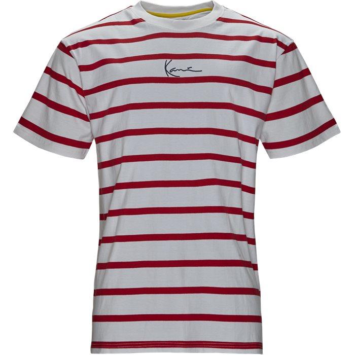 Signature Stripe Tee - T-shirts - Regular fit - Hvid