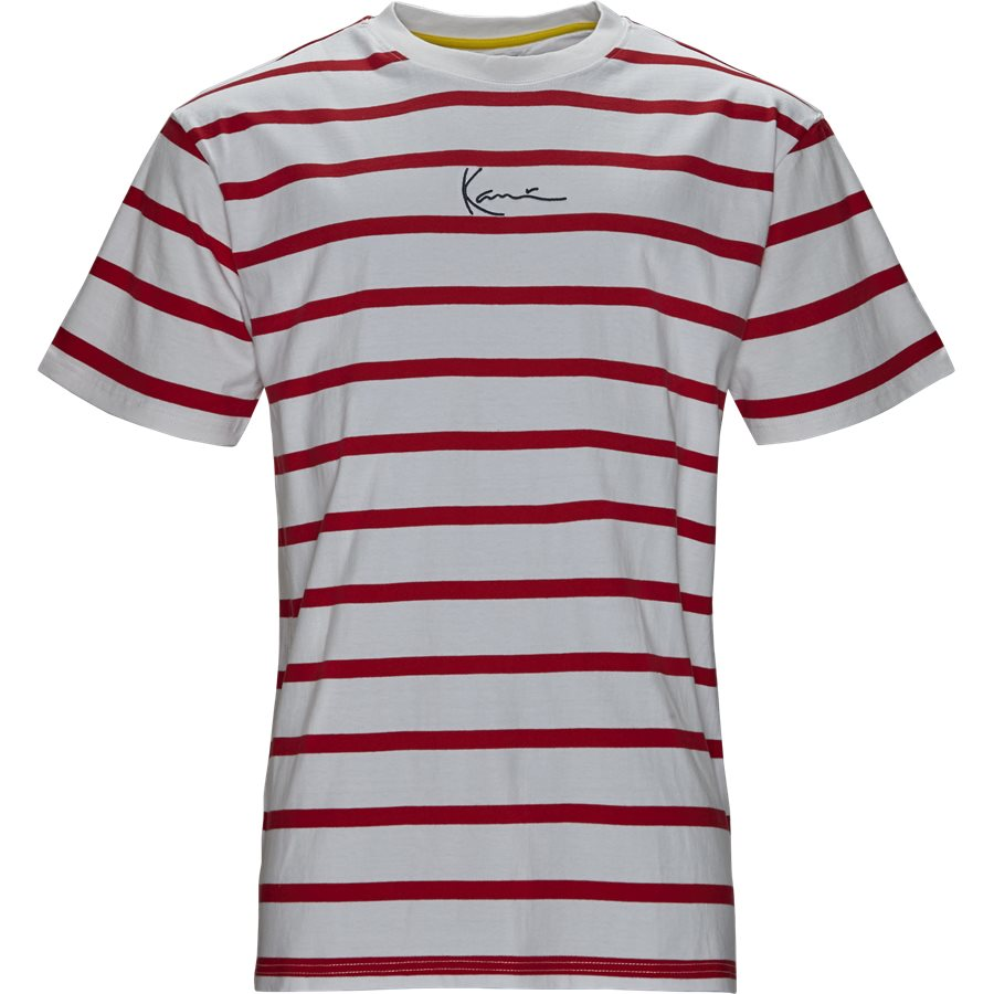 SIGNATURE STRIPE TEE 3581852 - Signature Stripe Tee - T-shirts - Regular - HVID/RØD - 1