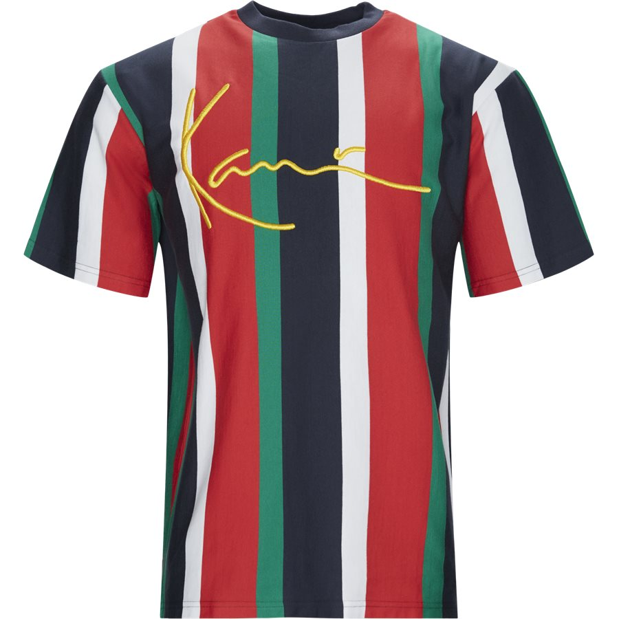 SIGNATURE PIN 3704583 - KK Signature Pinstripe Tee - T-shirts - Regular - NAVY/RØD/GRØN - 1
