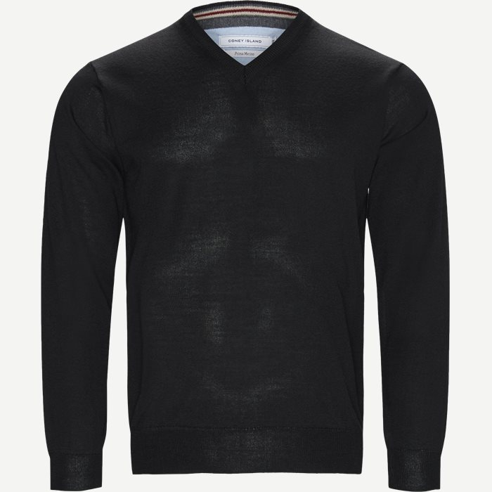 Smaralda V-Neck Striktrøje - Strik - Regular - Sort