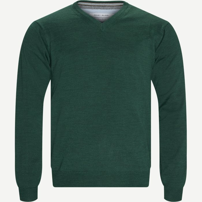 Smaralda V-Neck Striktrøje - Strik - Regular - Grøn