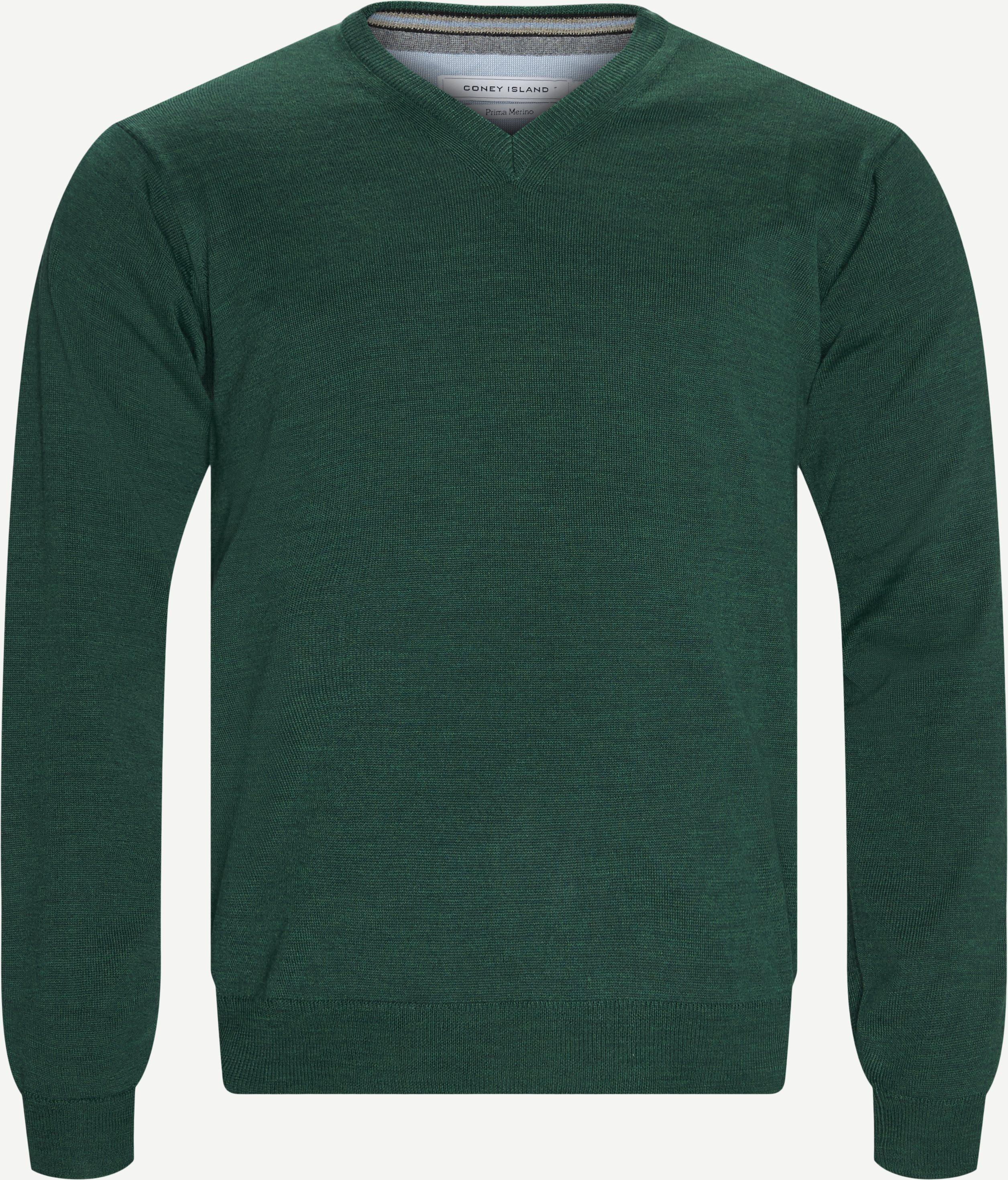 Smaralda V-Neck Striktrøje - Strik - Regular fit - Grøn
