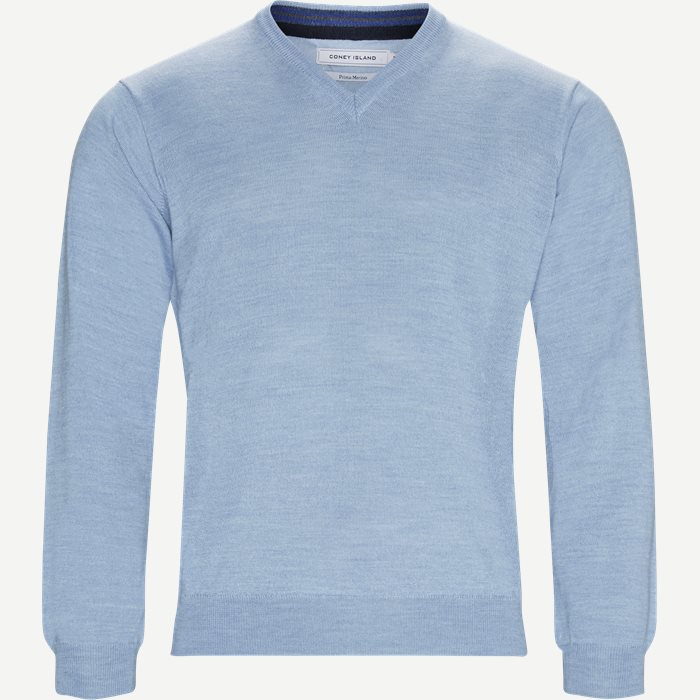 Smaralda V-Neck Striktrøje - Strik - Regular - Blå