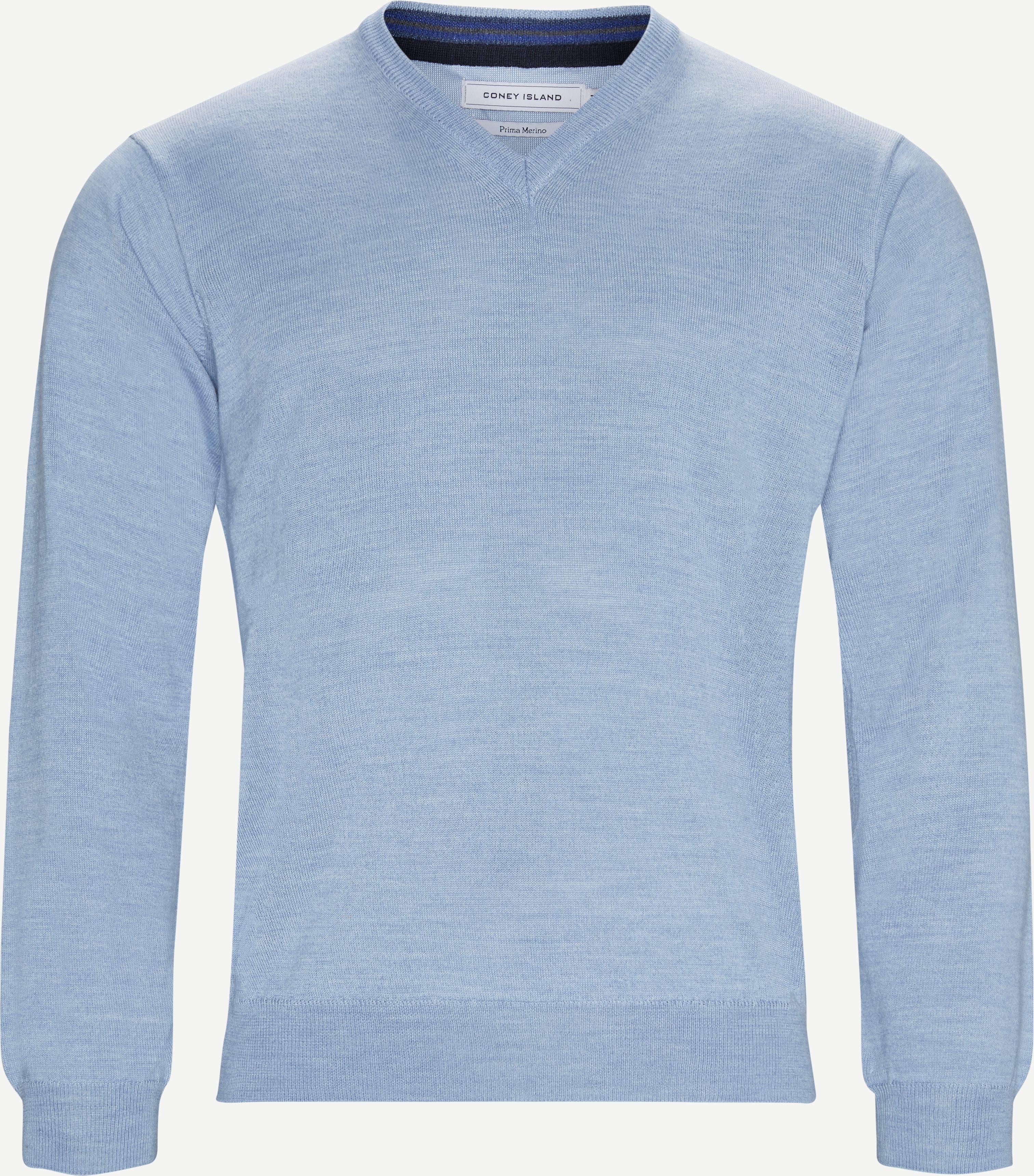 Smaralda V-Neck Striktrøje - Strik - Regular fit - Blå